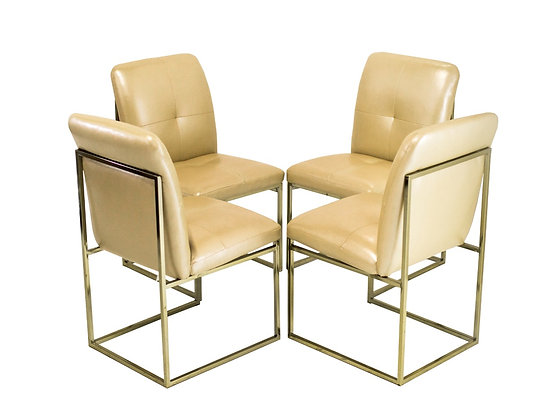 #3200 Set of 4 Milo Baughman Style Dining Chairs