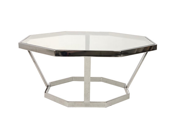 #4059 Octagonal Chrome Coffee Table in the Style of Milo Baughman