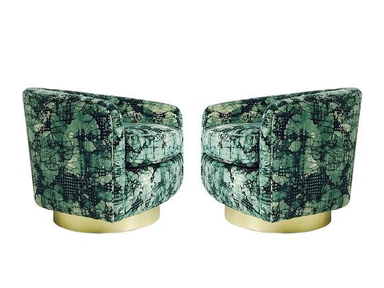 #3032 Pair Milo Baughman Brass Swivel Lounge Chairs with Kelly Wearstler Fabric