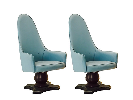 #3536 Pair Light Blue Tall Back Regency Chairs with Pedestal Base