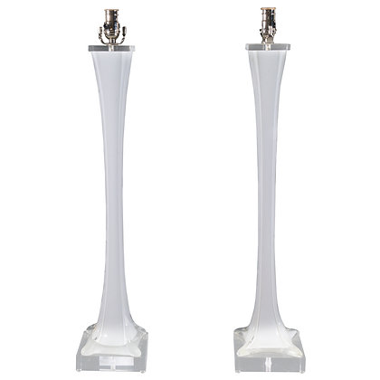 #4924 Pair Flared Finned Murano Lamps
