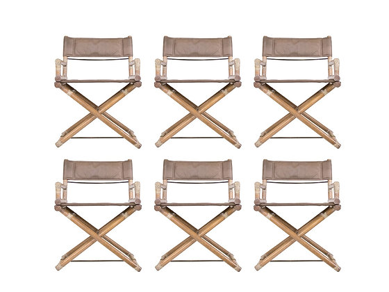 #3268 Set of 6 McGuire Campaign Dining Chairs