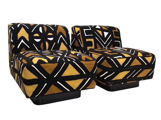 #2055  Pair Tribal Print Novikoff Slipper Chairs