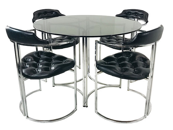 #4280 Set of Four MCM Dining Chairs and Table with Smoke Glass