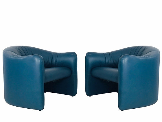 #4012 Pair of Blue Leather Metro Chairs