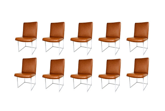 #5344 Set of 10 Milo Baughman Dining Chairs