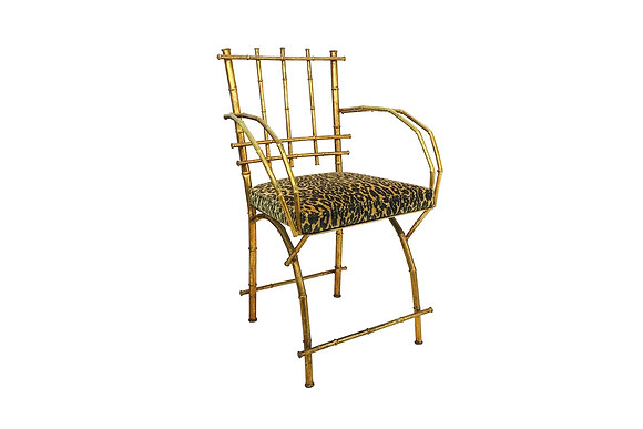 #1464 Gold Leaf Faux Bamboo Chair