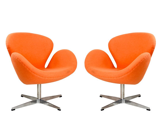#3946 Pair of Swan Swivel Chairs in the Style of Arne Jacobsen
