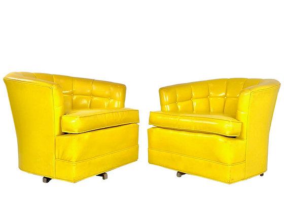 #4045 Pair of Vintage Yellow Vinyl Swivel Chairs