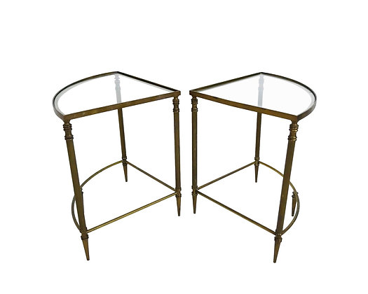 #5693 Pair of Quarter Circle Brass & Glass Tables