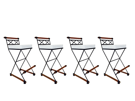 #1836 Set of 4 Bar Stools in Style of Cleo Baldo
