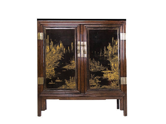 #3262 19th Century Huang Hua Li Black and Gold Marble Top Cabinet