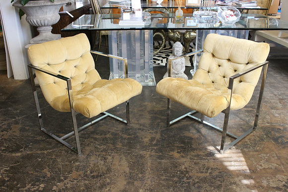 Pair Chrome Arm Chairs in Style of Milo Baughman