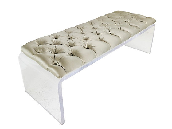 #3665 Large Scale Tufted Lucite Waterfall Bench
