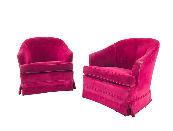 #5503 Pair of Wine Colored Swivel Chairs