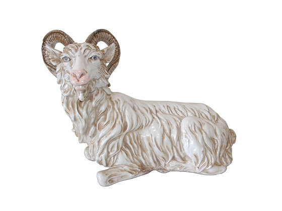 #4227 Italian Terra-cotta Glazed Ram Sculpture