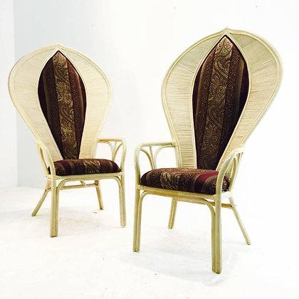 #2029 Pair Rattan Fan Back Chairs