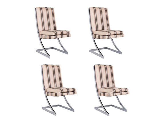 """#3218 Set of 4 Chrome """"Z"""" Dining Chairs"""