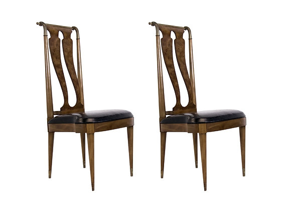 #3359 Pair of Italianate Burl Wood and Brass Side Chairs