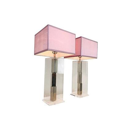 #2259 Pr Laurel Chrome/Lucite Lamps