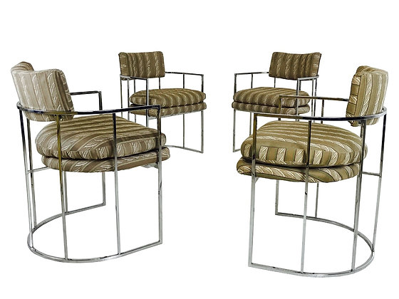 #3177 Set of 4 Milo Baughman Round Back Dining Chairs