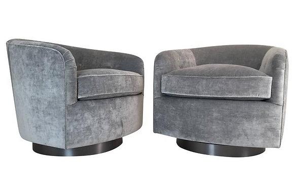 #1662 Pair Custom Swivel Chairs