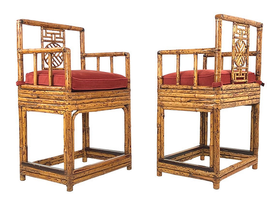 #3913 Pair Bamboo Chinoiserie Chairs by By Brighton Pavillion