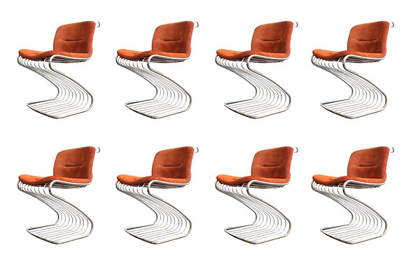 #993 Set of  Chrome Cantilever Dining Chairs