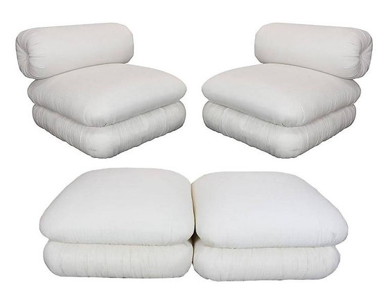 #3012 Pair of Unique and Sculptural Roll Back Slipper Chairs and Ottomans