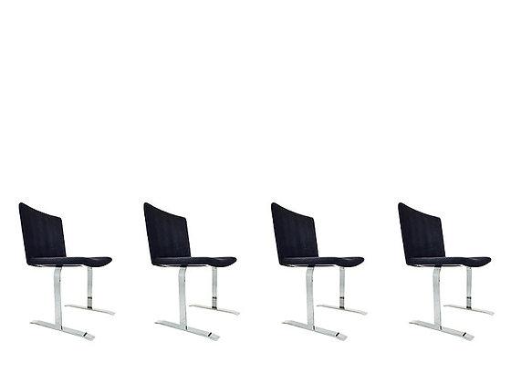 #1865 Set of 4 Saporiti Chrome Dining Chairs