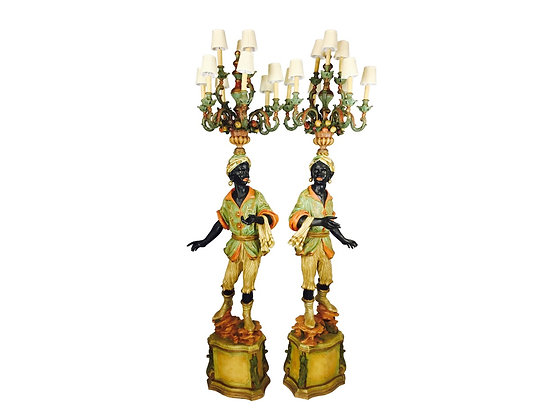#2816 Pair of Polychrome Blackamor Torchieres