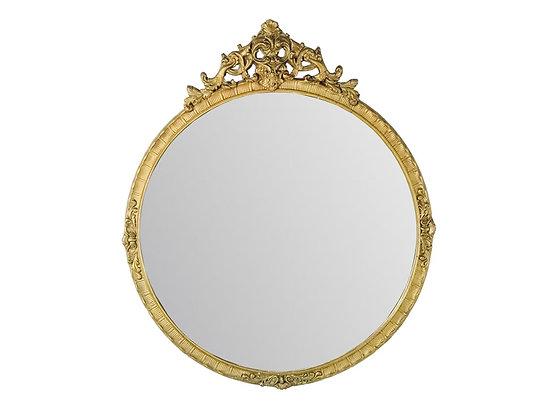 #3701 Carved Round Gold Mirror