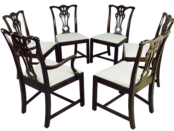 #3013 Set of Six Chippendale Style Dining Chairs