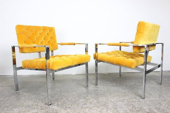 #1466 Pair Orange Tufted T Back Milo B. Chairs