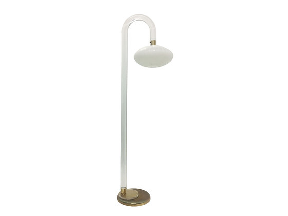 #2446 Lucite Floor Lamp w/White Glass Globe