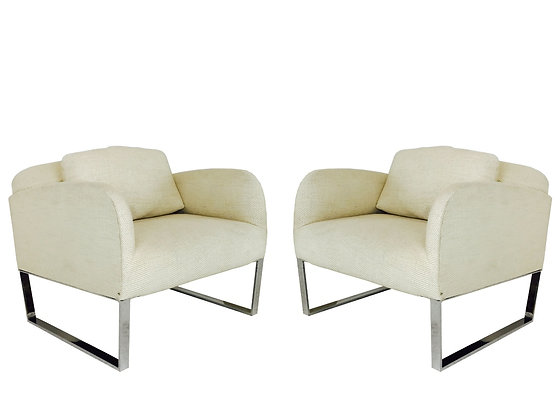 #2952 Pair Chrome Deco Style Lounge Chairs in Style of Milo Baughman