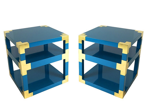 #2891 Custom Brass & Lacquer Cube Side Tables