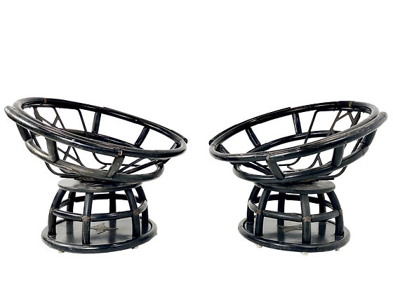 #4040 Pair of Swivel Papasan Style Chairs (2 set of pairs available)