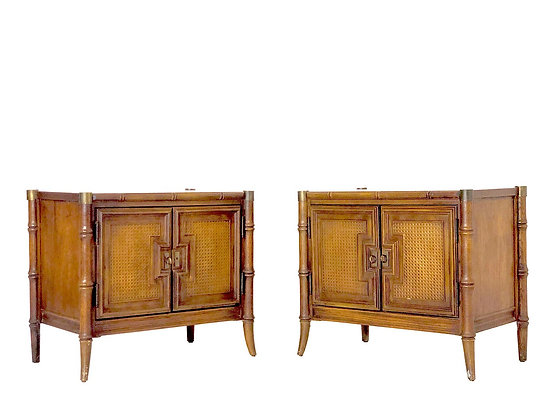 #4133 Pair of Faux Bamboo Stanley Nightstands