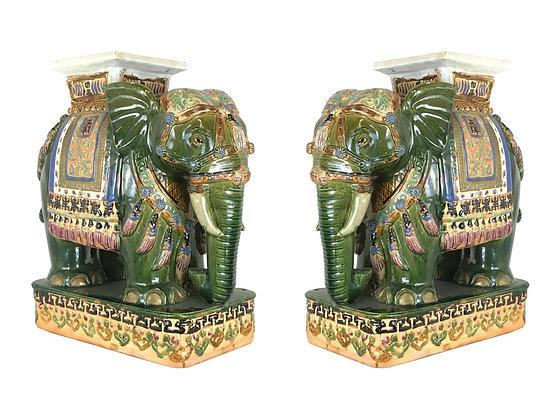 #3229 Pair Asian Elephant Garden Stools