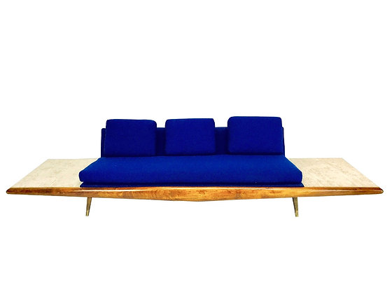 #3167 Adrian Pearsall Sofa with Travertine side Tables