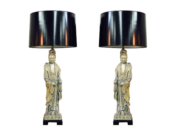 #2574 Pair Quan Yin Lamps by Frederick Cooper