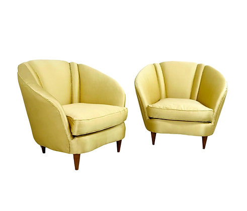#5378 Pair of Italian Lounge Chairs with Lotus Forms