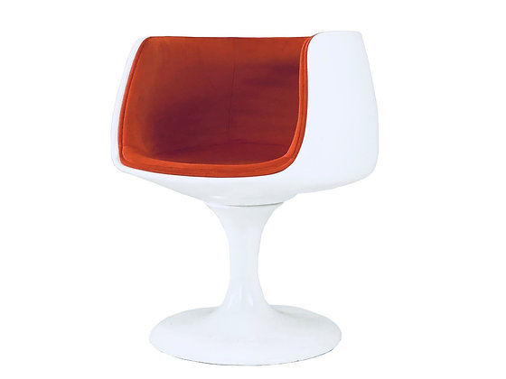 #3336 Single White Lacquered Tulip Chair with Orange Velvet