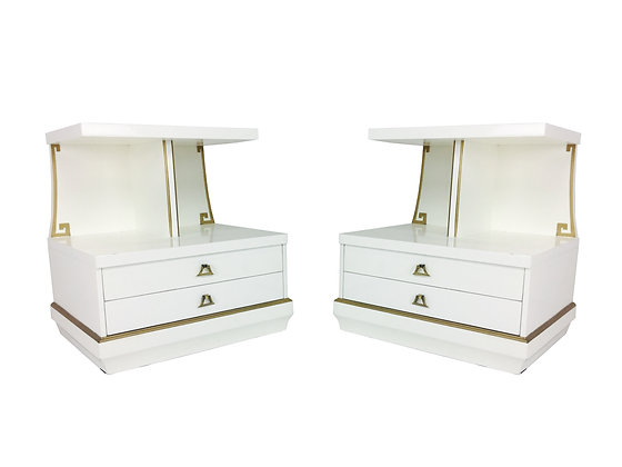 #2486 Pair White Lacquer & Brass Side Tables