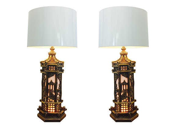 #2399 Pr Gold Chinoiserie Lamps Style James Mont