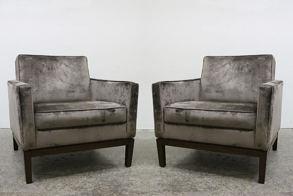 855 Pair Taupe Gray Velvet Arm Chairs