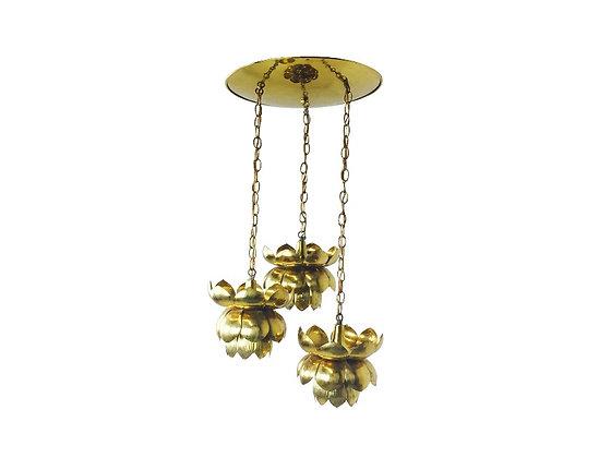 #2151 3Pc Feldman Brass Lotus Pendant