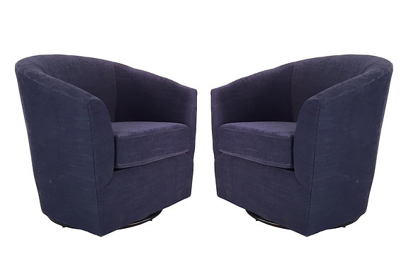 #1673 Pair Blue Swivel Chairs