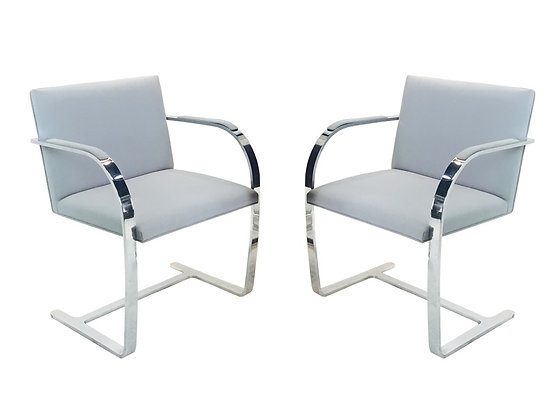 #2010 Pair Gray Linen BRNO Chairs